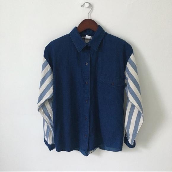 1b7a8aeff8ebbb Vintage Tops | Oversized Contrast Chambray Shirt M | Poshmark